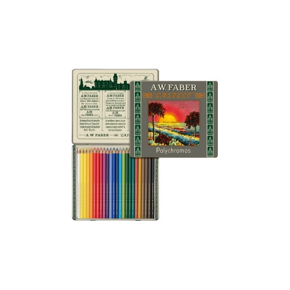 Boite crayon de couleur FABER & CASTELL Polychromos 111 ans - 24 crayons Polychromos 110012 (Métal)