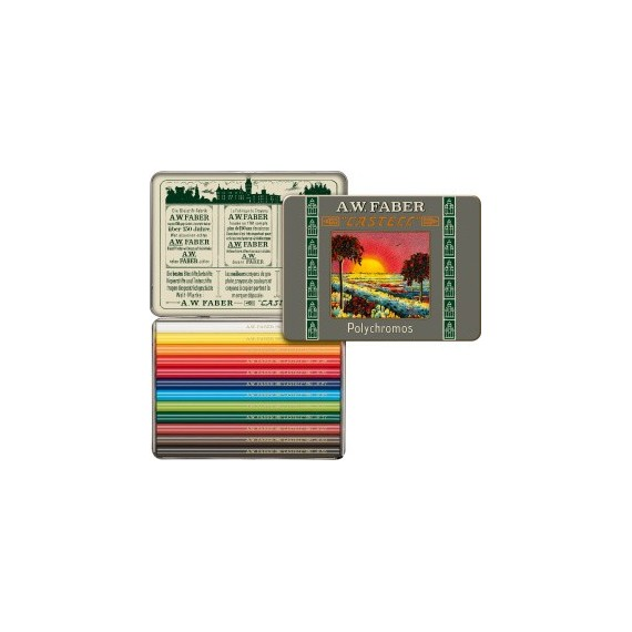 Boite crayon de couleur FABER & CASTELL Polychromos - 12 mini  crayons Polychromos 211004 (Métal)