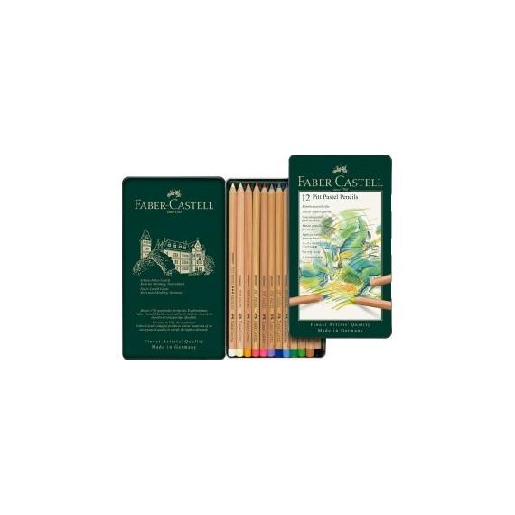 Boite craie FABER & CASTELL Pitt - 12 pastels assortis 112112 (Métal)