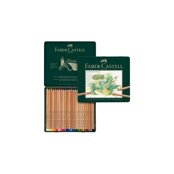 Boite craie FABER & CASTELL Pitt - 24 pastels assortis 112124 (Métal)