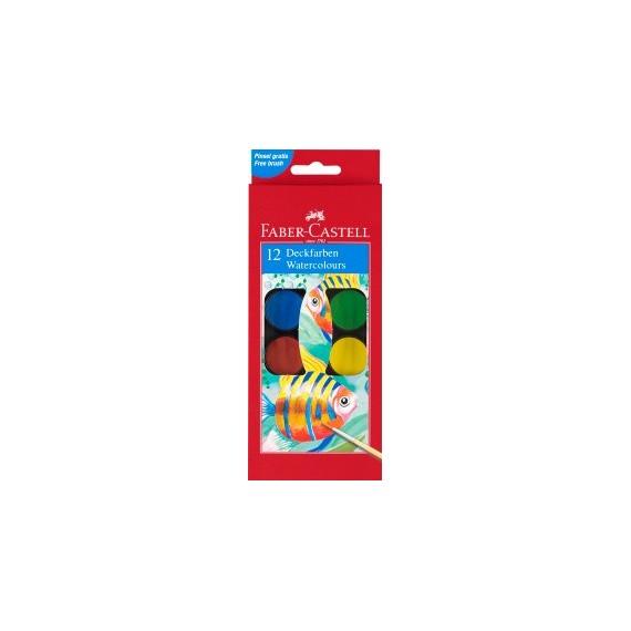 Boite gouache FABER & CASTELL - 12 pastilles 125012 (Plastique)