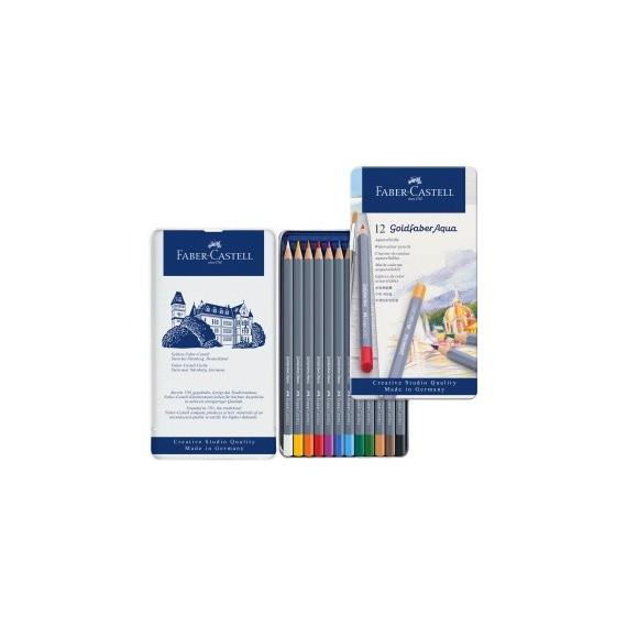 Boite crayon aquarelle FABER GOLDFABER - 12 crayons assortis 114612 (Métal)