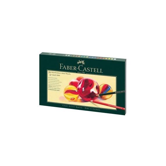 Boite crayon de couleur FABER & CASTELL Polychromos - Castell 9000 - 20 crayons + accessoires (Cart)