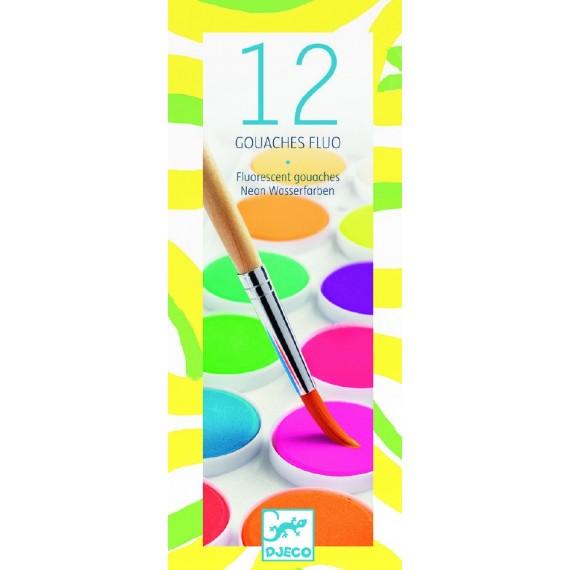 Boite gouache DJECO - Les couleurs - 12 pastilles de gouaches fluo