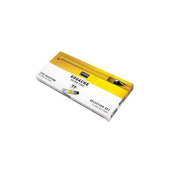 Boite gouache PEBEO T7 - Fine - 12 Tubes de 20 ml + 1 brosse (Carton)
