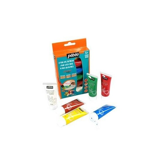 Etui peinture PEBEO Primacolor - Gouache liquide - 6 tubes de 20 ml (Carton)