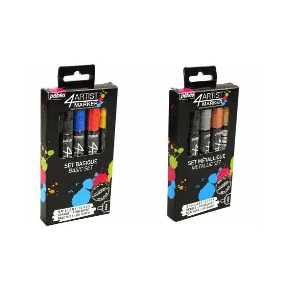 Pochette feutre PEBEO Artist marker - 4 feutres 4 mm- Peinture à l'huile - Or argent
