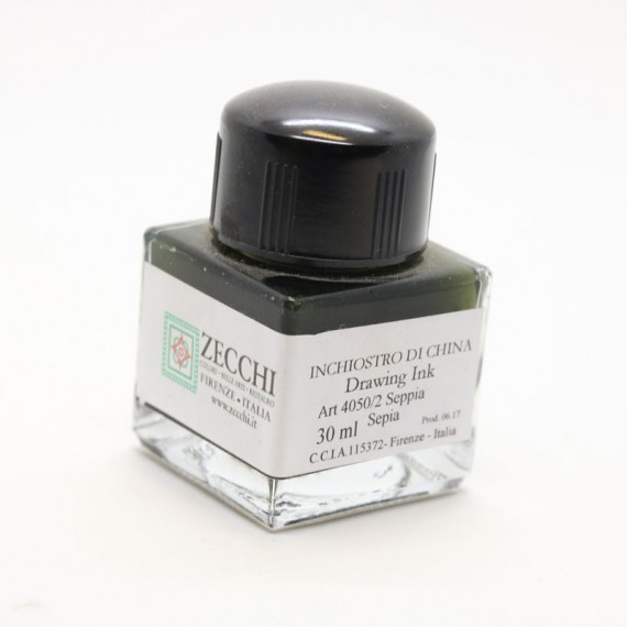 Encre à dessiner ZECCHI Traditionnelle - Flacon: 30 ml - Sépia véritable