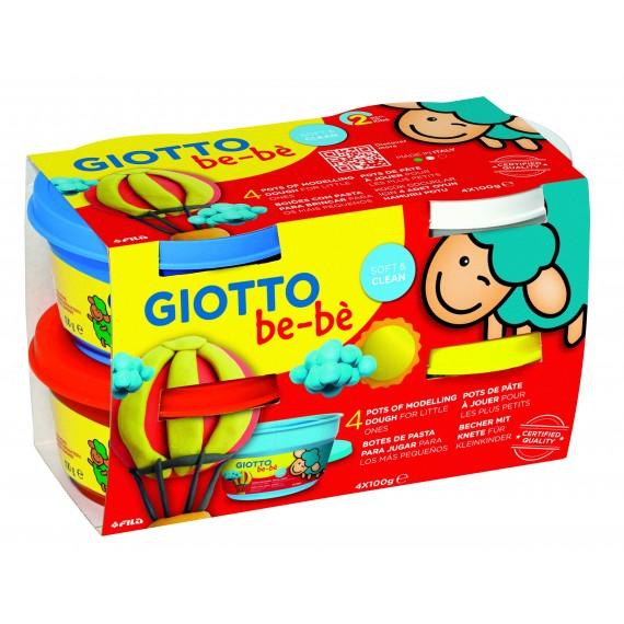 Etui Pâte à jouer GIOTTO BéBé - Super pâte à jouer - 4 x 100gr (Rouge/Jaune / Cyan/ Blanc).