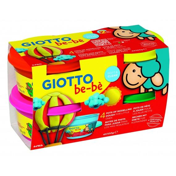 Etui Pâte à jouer GIOTTO BéBé - Super pâte à jouer - 4 x 100gr(Rouge /Jaune / Magenta / Vert).