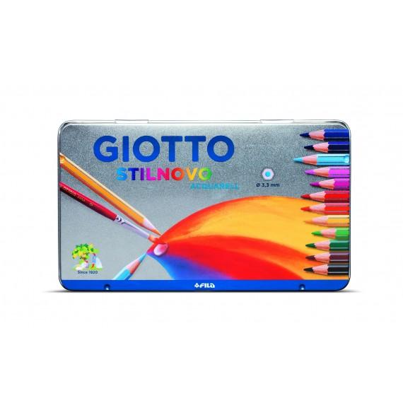 Boite crayon de couleurs aquarelle GIOTTO Stilnovo - 12 Crayons (Métal)