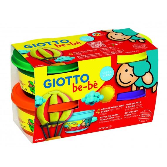 Etui Pâte à jouer GIOTTO BéBé - Super pâte à jouer - 4 x 100gr(Violet/Jaune /Orange /Vert).