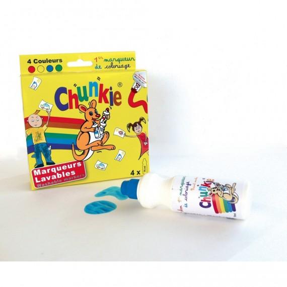 Boite marqueur CHUNKIE - 4 Marqueurs (Bleu, rouge, jaune, vert) CH41616