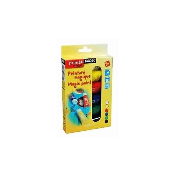 Boite peinture PEBEO Prima magic - Peinture magique - 6 tubes de 20 ml