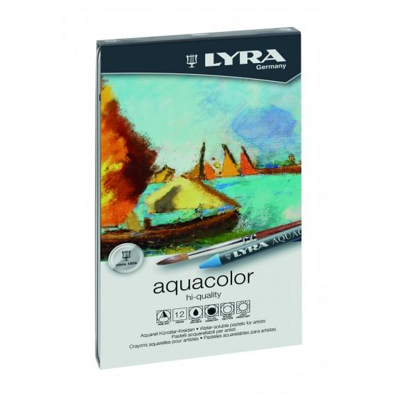 Boite craie à la cire LYRA - 12 craies à la cire aquacolor (Métal)