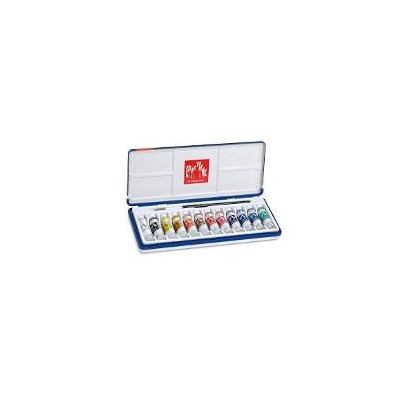 Boite gouache CARAN D'ACHE - 12 Tubes de 10 ml 2001.312 (Plastique)