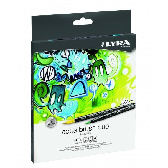Boite feutre pinceau aquarelle LYRA  - 12 feutres aqua brush duo L6521120