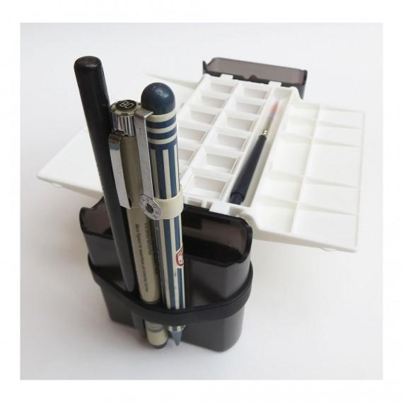 Boite vide PORTABLE PAINTER 0ade - Pour 12 1/2 godets d'aquarelle (Plastique blanc)