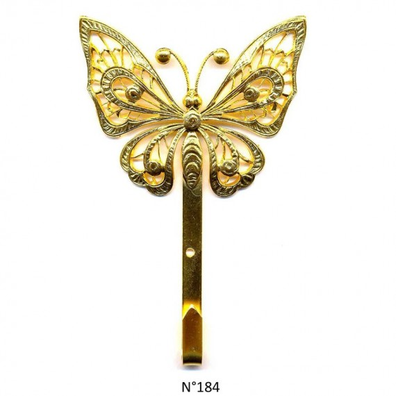 Crochet CDQV (Accroche tableau) - Doré à l'or fin - Papillon 2