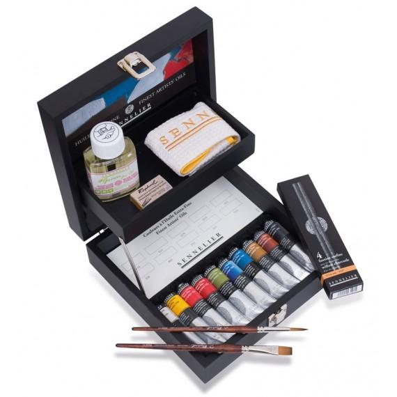 Coffret Huile SENNELIER - Extra-fine - 10 tubes de 21 ml + accessoires (Bois noir)