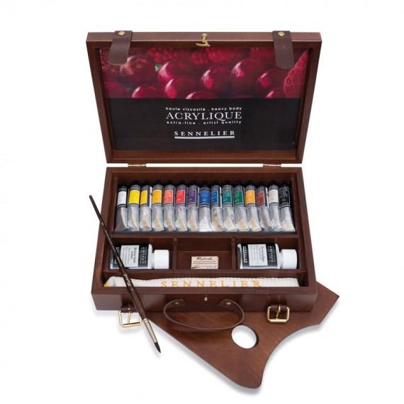 Coffret Acrylique SENNELIER - Extra-Fine - 15 tubes de 21 ml et accessoires (Bois)