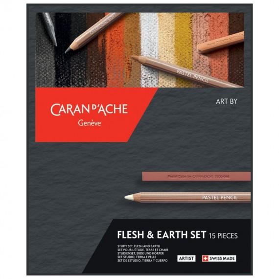 Boite pastel CARAN D'ACHE - 6 crayons pastels - 5 craies + accessoires -Teintes terre et chair
