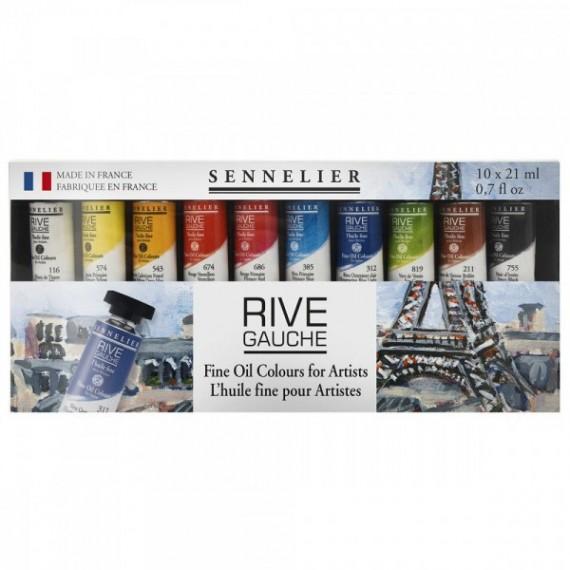 Boite huile SENNELIER - Rive gauche - Fine - 10 Tubes de 21 ml (Carton)