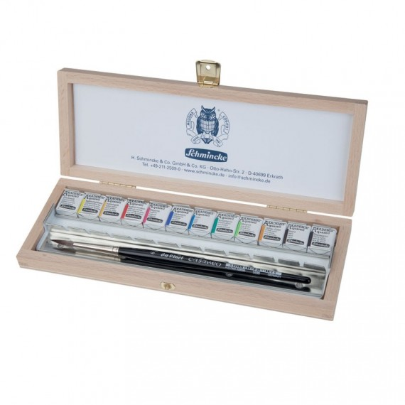 Coffret aquarelle SCHMINCKE - Extra-fine - 12 1/2 godets + 2 pinceaux (Bois)
