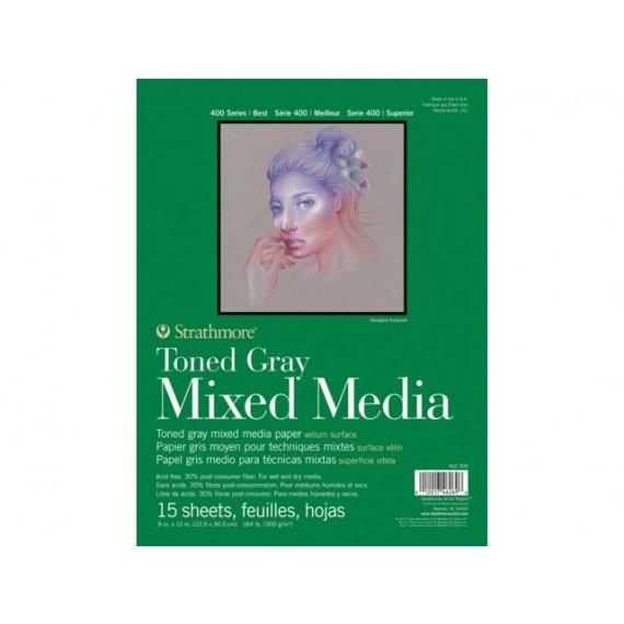 Bloc multitechnique STRATHMORE Mixed média - 300 gr - 15 feuilles - F: 23 x 30,5 cm - Gris -Collé T