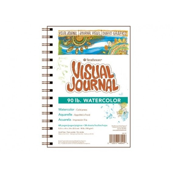 Album aquarelle STRATHMORE Visual journal - Format: 14 x 20,3 cm - 190 gr - 34 feuilles - Spirales