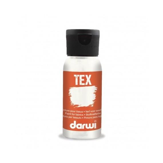 Peinture pour tissu DARWI TEX Classique - Flacon: 50 ml - Blanc