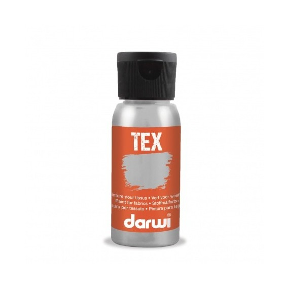 Peinture pour tissu DARWI TEX Classique - Flacon: 50 ml - Argent
