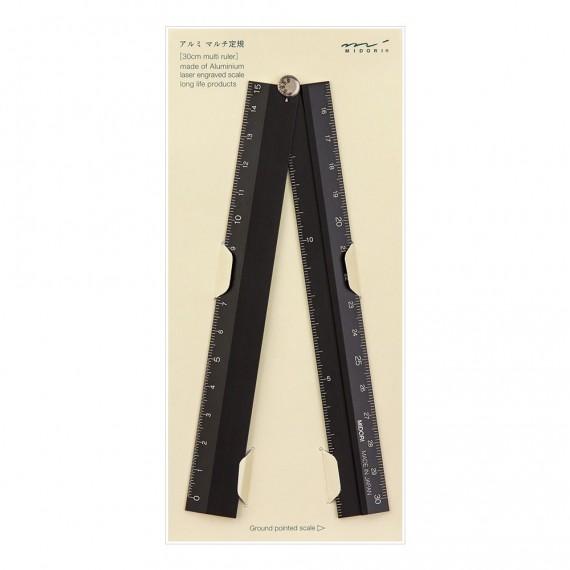 Règle MIDORI Multiple aluminium - 30 cm - Pliable - Noir
