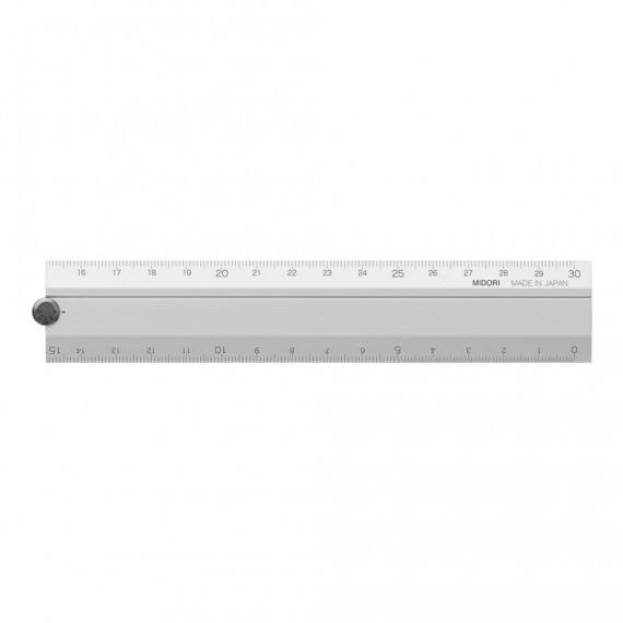 Règle MIDORI Multiple aluminium - 30 cm - Argent