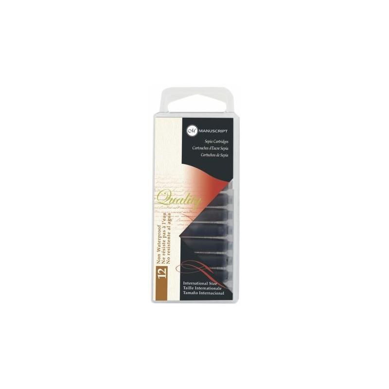 Cartouche encre CORECTOR - Pour stylo-plume - Etui de 12  cartouches - M046SP - Sépia