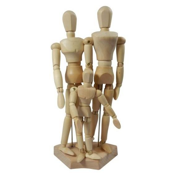 Mannequin CORECTOR - En bois - Set de 3 (Homme, Femme, Enfant)