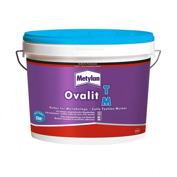 Colle Ovalit TM METYLAN - Pour textile muraux  (Acétate de polyvinyle en dispersion aqueuse) - 5 Kg