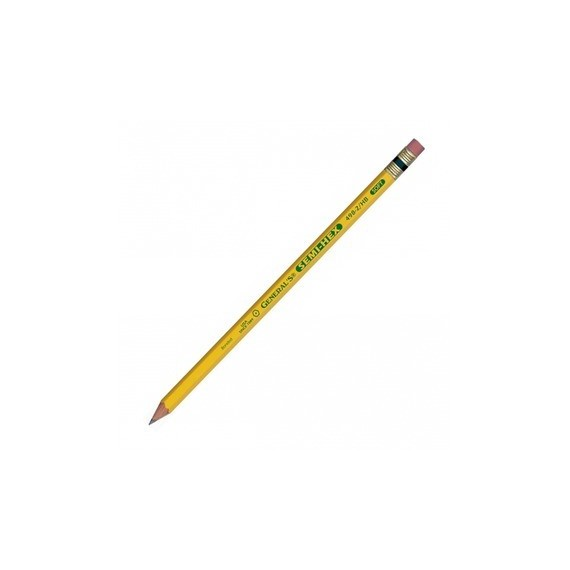 Crayon graphite GENERAL'S - Semi-hex - N.02 - tendre HB - Bout gomme
