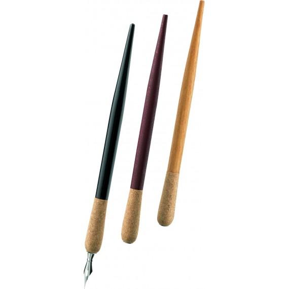 Porte-plume E+M - Embout liège - Manche noir + Plume - FSC 145-20