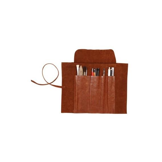 Trousse en cuir CLAIREFONTAINE - L:32.7  x H:25 cm - Pour crayons - Brun