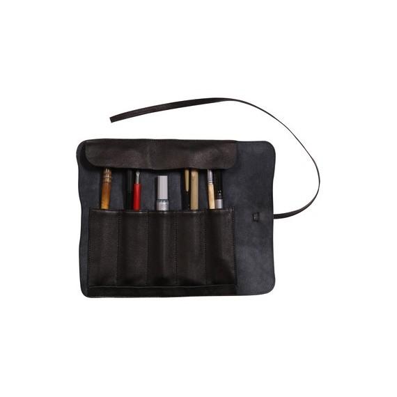 Trousse en cuir CLAIREFONTAINE - L:26.7  x H:20.5 cm - Pour crayons - Noir
