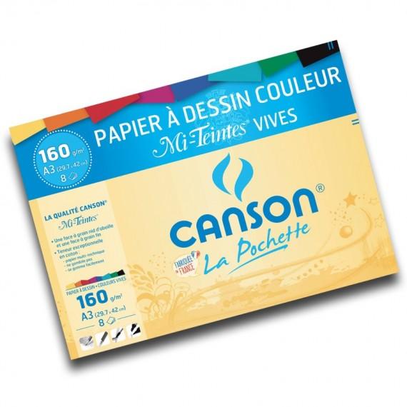 Pochette dessin couleur CANSON Mi-teintes - 160gr (12f) - F:24 x 32 cm - 2776 - Teintes vives