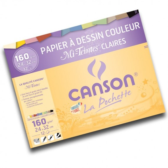 Pochette dessin couleur CANSON Mi-teintes - 160gr (12f) - F:24 x 32 cm - 2789 - Teinte claire