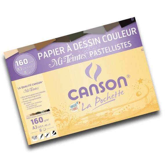 Pochette dessin couleur CANSON  Mi-teintes - 160gr (8f) - F: 29.4 x 42 cm (A3) - Teinte pastel