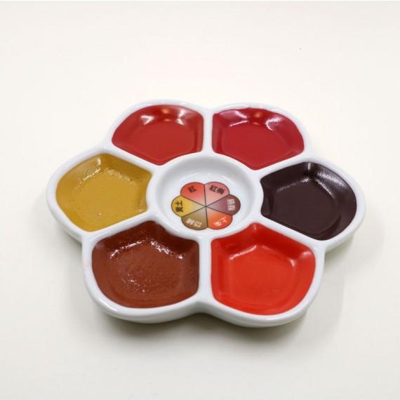 Boite palette marguerite aquarelle Japonaise - Ornement red (Boite) - 6 couleurs