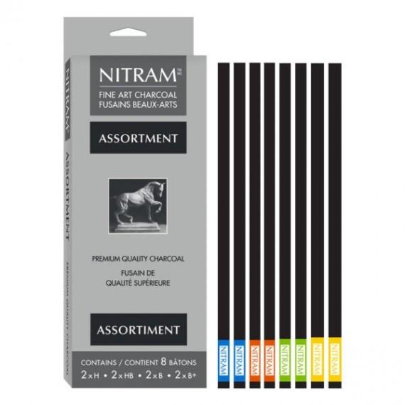 Boite fusain NITRAM - 8 fusains assortis ( 2 x  H, HB, B, ES)