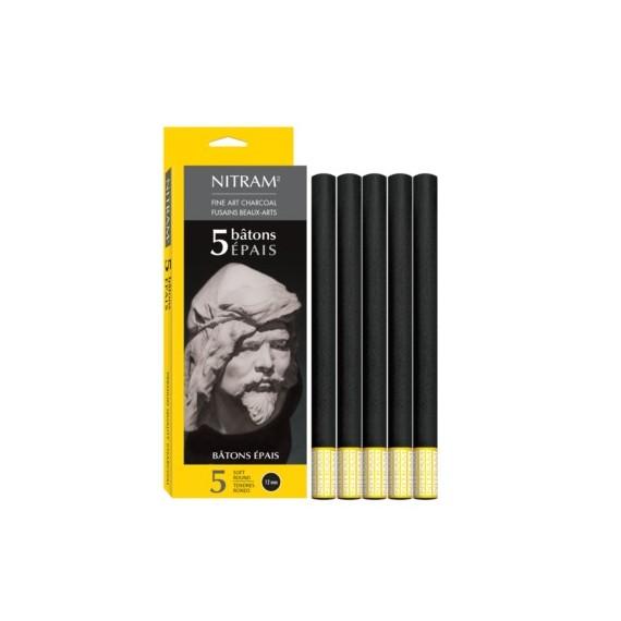 Boite fusain NITRAM - 5 fusain épais extra-soft 700302