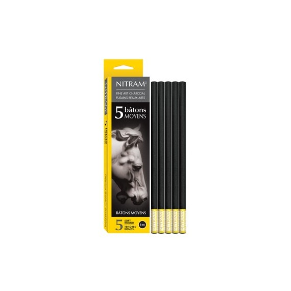Boite fusain NITRAM - 5 fusains moyens extra-soft 700301