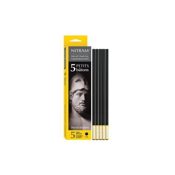 Boite fusain NITRAM - 5 fusains petite taille - Extra-soft 700300