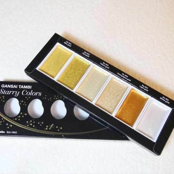 Boite aquarelle GANSAI - 6 teintes nacrées